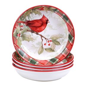 Certified International Winter Field Notes Cardinal 4-pc. Soup/Pasta Bowl Set