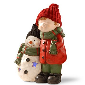 National Tree Company 15-in. Light-Up Boy & Snowman Floor Decor