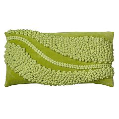 Rizzy Home Pom Pom Swoop Applique Oblong Throw Pillow