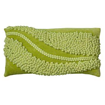 Rizzy Home Pom Pom Swoop Applique Oblong Throw Pillow