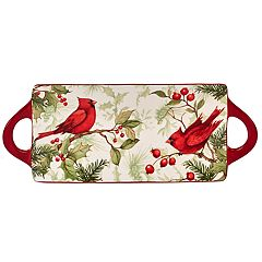Certified International Winter Field Notes Cardinal Rectangular Platter w/ Handles