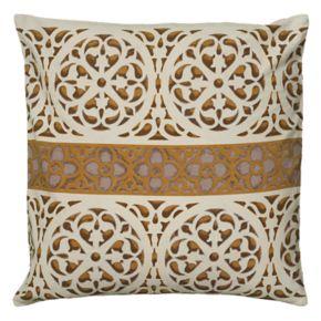 Rizzy Home Medallion & Central Stripe Metallic Print Throw Pillow