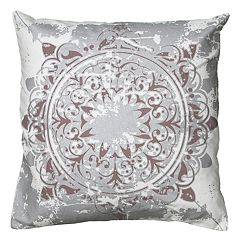 Rizzy Home Medallion Distressed Metallic Print Throw Pillow