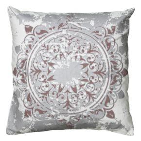 Rizzy Home Medallion Distressed Metallic Print Throw Pillow
