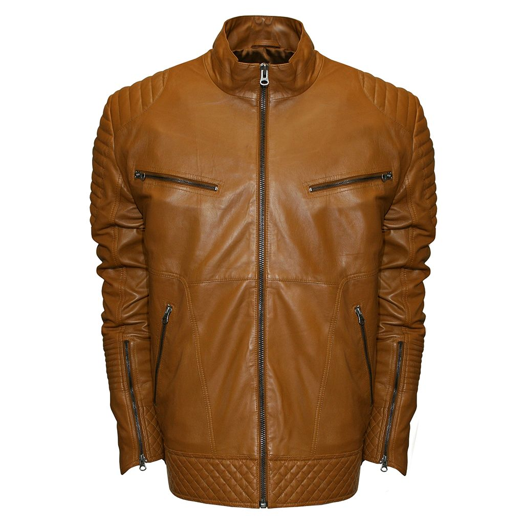 Men's Franchise Club Raw X Quilted Lambskin Leather Moto Jacket