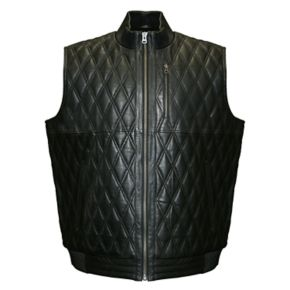 Men's Franchise Club Diamond Quilted Lambskin Leather Vest
