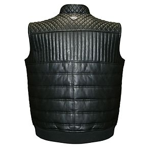 Men's Franchise Club Geo Quilted Lambskin Leather Vest