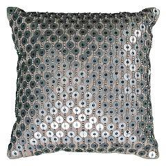 Rizzy Home Beaded Sequin Applique Throw Pillow