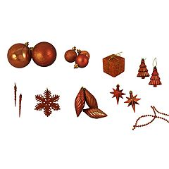 Burnt Orange Shatterproof Christmas Ornament 125-piece Set