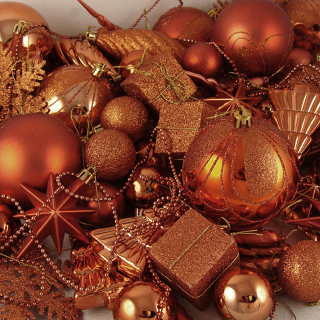 Burnt Orange Shatterproof Christmas Ornament 125-piece Set