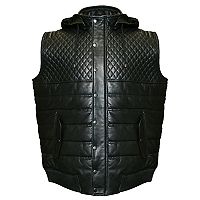 Men's Franchise Club Geo Hooded Lambskin Leather Vest