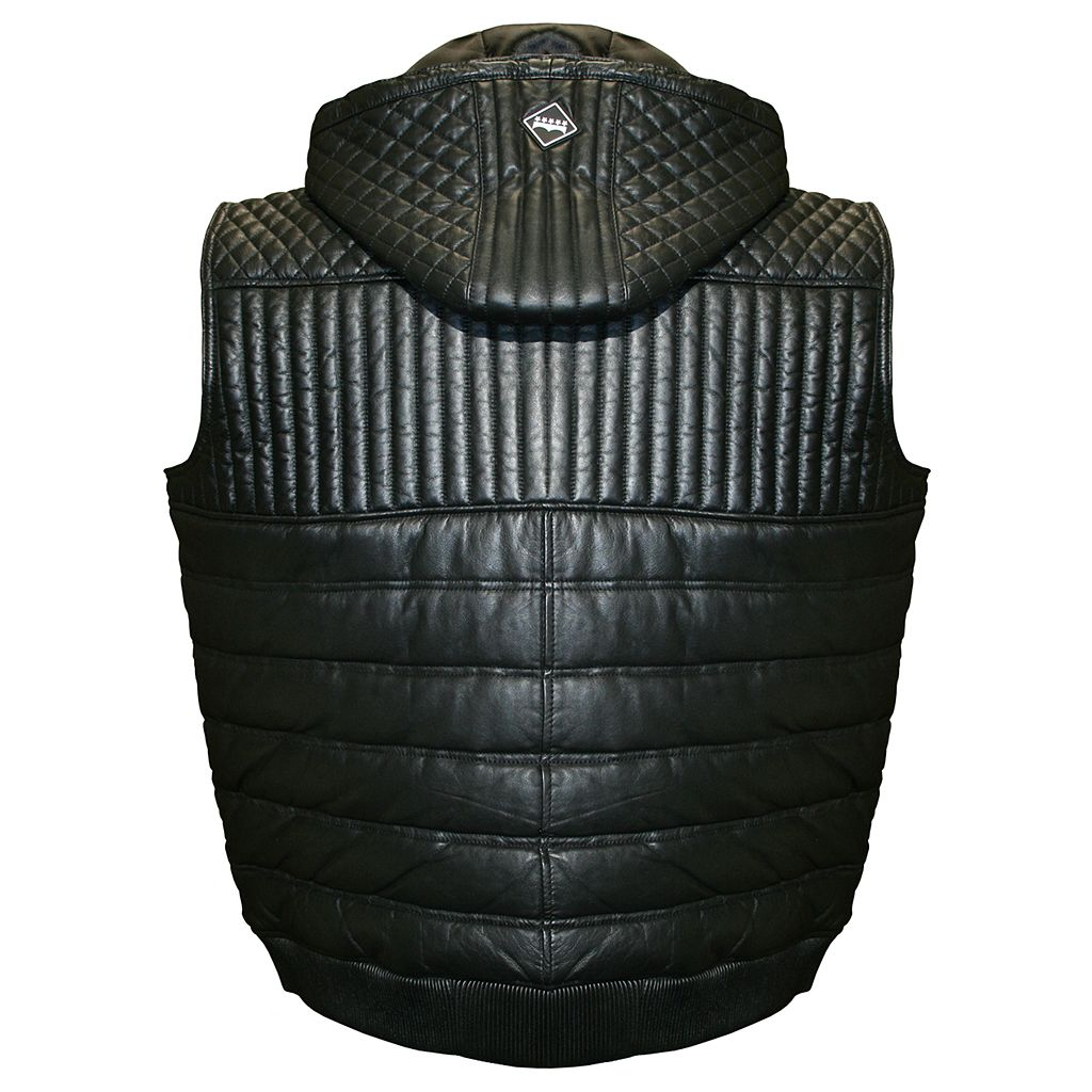 Men's Franchise Club Geo Hooded Lambskin Leather Vest