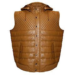 Men's Franchise Club Geo Quilted Hooded Lambskin Leather Vest