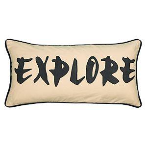 """Rizzy Home Word """"Explore"""" Applique Oblong Throw Pillow"""