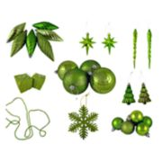 Green Shatterproof Christmas Ornament 125-piece Set