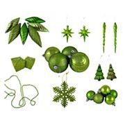 Green Shatterproof Christmas Ornament 125 pc Set