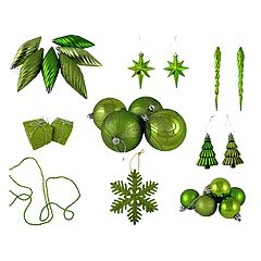 Green Shatterproof Christmas Ornament 125 pc Set