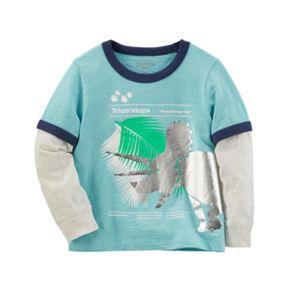 "Toddler Boy OshKosh B'gosh® ""Triceratops"" Dinosaur Mock-Layered Grahpic Tee"