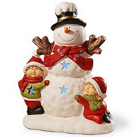 National Tree Company 17 in Light-Up Snowman & Children Floor Christmas Decor