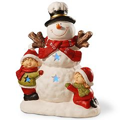 National Tree Company 17-in. Light-Up Snowman & Children Floor Christmas Decor