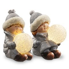 National Tree Company Light-Up Boy & Girl Table Decor 2-piece Set