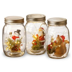National Tree Company Light-Up Glass Jar Table Christmas Decor 3-piece Set