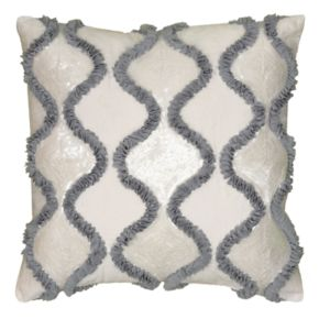Rizzy Home Georgette Waves Ruffle Sequin Ogee Throw Pillow