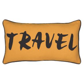 """Rizzy Home Word """"Travel"""" Applique Oblong Throw Pillow"""