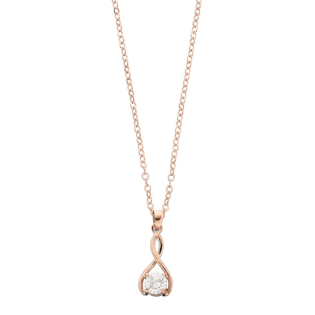 Brilliance Wishbone Pendant Necklace with Swarovski Zirconia