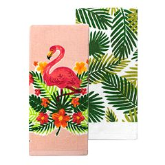 Celebrate Summer Together Flamingo Floral Kitchen Towel 2-pack