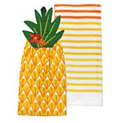 Celebrate Summer Together Pineapple Tie-Top Kitchen Towel 2-pack