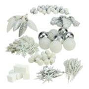 White Shatterproof Christmas Ornament 125-piece Set