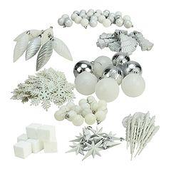 White Shatterproof Christmas Ornament 125-piece Set