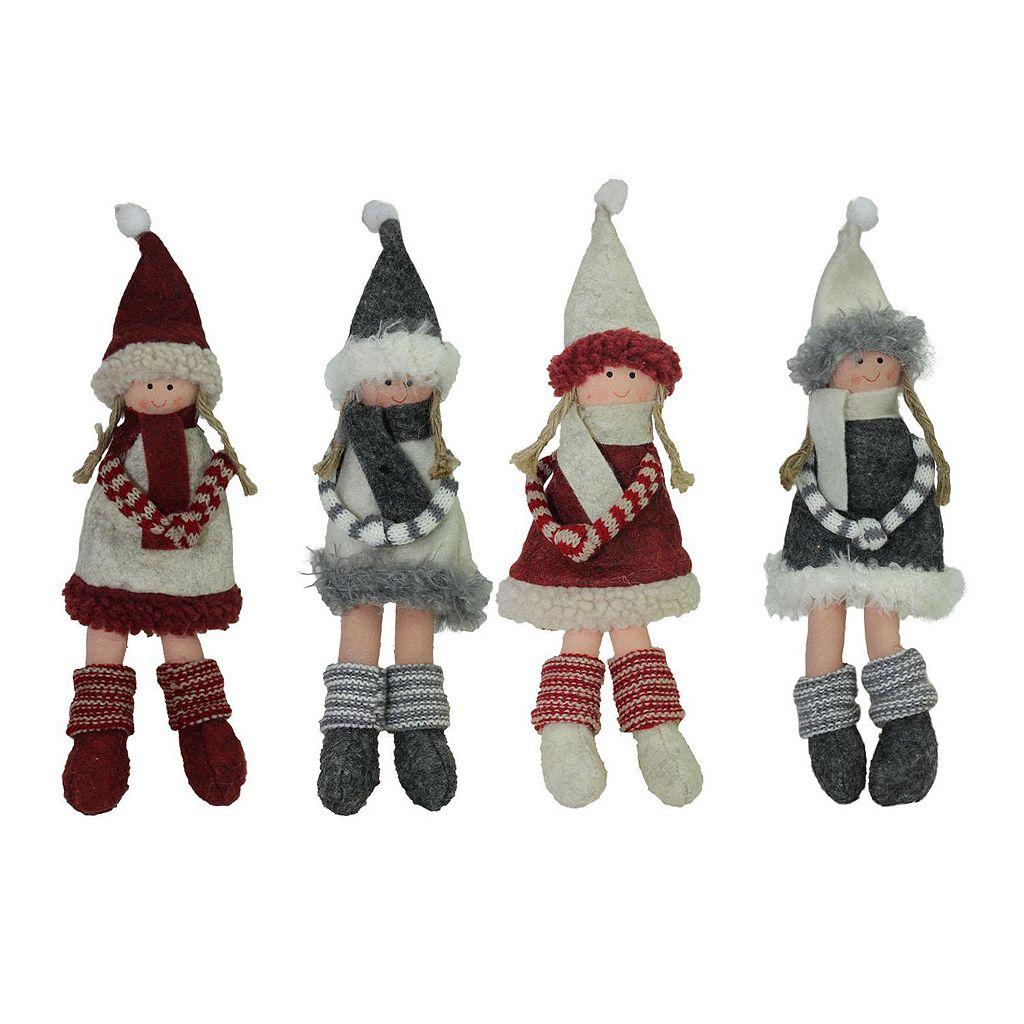 Northlight Plush Doll Christmas Ornament 4-piece Set