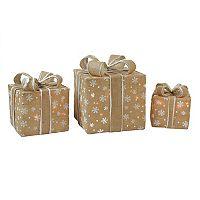 Northlight Pre-Lit Burlap Gift Box Indoor / Outdoor Christmas Decor 3-piece Set
