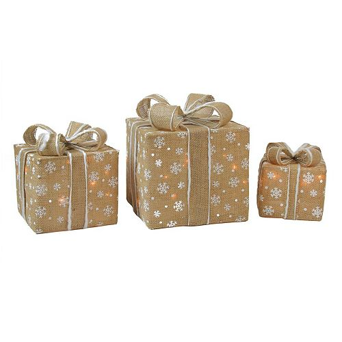 northlight pre lit burlap gift box indoor outdoor christmas decor 3 piece set - Burlap Outdoor Christmas Decorations