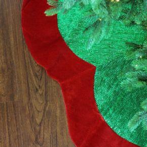 Northlight 60-in. Green & Red Velveteen Christmas Tree Skirt
