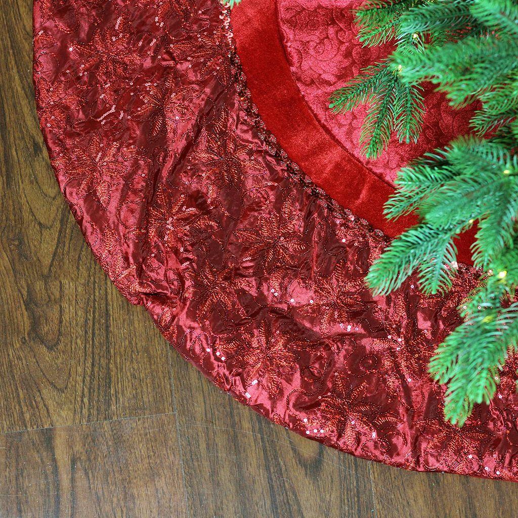 Northlight 60-in. Poinsettia Velveteen Christmas Tree Skirt