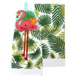 Celebrate Summer Together Flamingo Tie-Top Kitchen Towel 2-pack