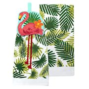 Celebrate Summer Together Flamingo Tie-Top Kitchen Towel 2-pack