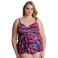 Plus Size Croft & Barrow® Hip Minimizer Tiered D-Cup Swimsuit