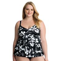 Plus Size Croft & Barrow® Hip Minimizer Tiered D-Cup Swimsuit