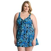 Plus Size Croft & Barrow® Thigh Minimizer Bow-Front Swimdress