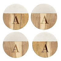 Cathy's Concepts Personalized Marble & Acacia 4 pc Coaster Set