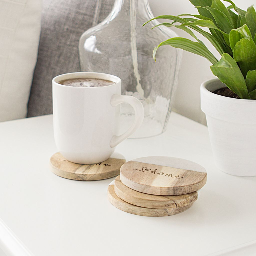 Cathy's Concepts Personalized Marble & Acacia 4-pc. Coaster Set