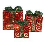 Northlight Pre-Lit Gift Box Indoor / Outdoor Christmas Decor 3-piece Set