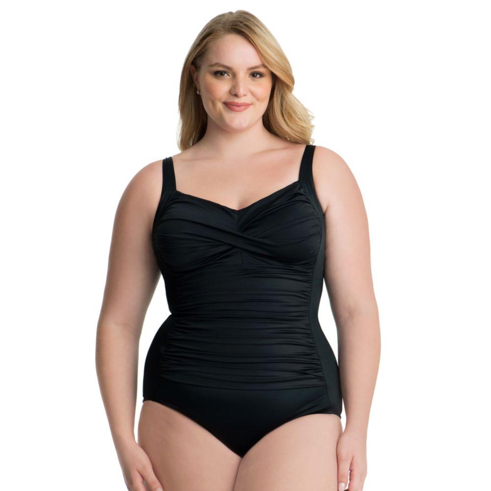 size croft & barrow® bust minimizer twist-front one-piece swimsuit