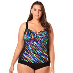 Plus Size Croft & Barrow® Bust Minimizer Twist-Front One-Piece Swimsuit