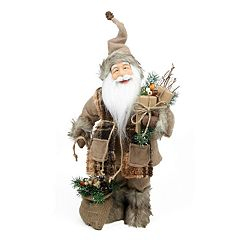 Northlight 24 in Rustic Faux-Fur Lodge Santa Christmas Decor