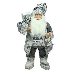 Northlight 24 in Fairisle Faux-Fur Alpine Santa Christmas Decor
